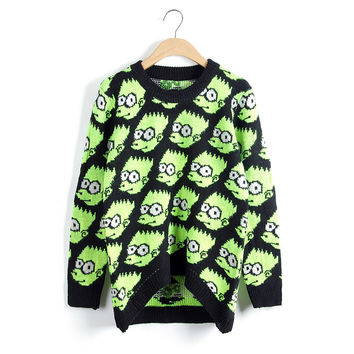 Women's Fashion Cartoons Pattern Sweater Pullover Knit Tops Jacket [8216431745]
