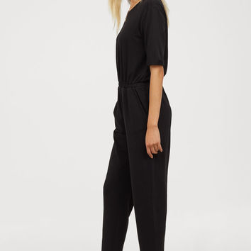 Short-sleeved Jumpsuit - Black - Ladies | H&M US
