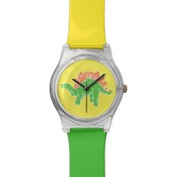 Green Stegosaurus Colorful Wristwatch