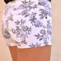 Floral Print Denim Shorts with Four Pocket Detail