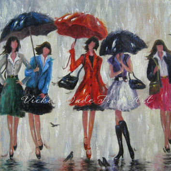 Five Rain Girls Art Print, fashion girls five sisters rain red umbrellas five ladies in rain art, Vickie Wade Art