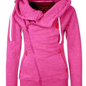 Rose Carmine Pockets Side Zip Badge Drawstring Hooded Long Sleeve Casual Vogue Hooded Sweatshirt