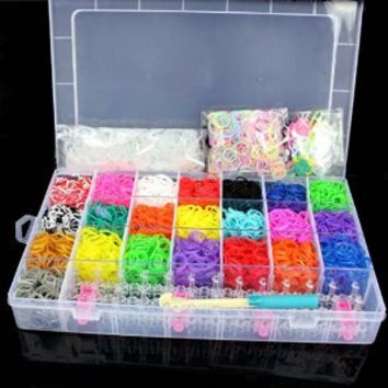 5600 Colourful Rubber Loom Bands Bracelet Making Kit Set With S-Clips rainbow colors By Catalina