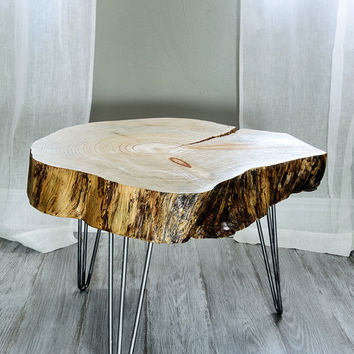 Live Edge Table Wood Slice Sidetable Modern End Table from Wood Tables Contemporary Tree Slice Table Danish Nightstand Bedside #PCD2