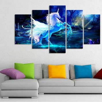 5 pieces large HD printed oil painting unicorn horse forest blue canvas print home decor wall art pictures for living room F0256