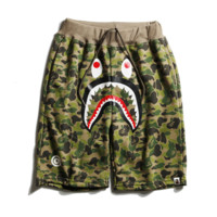 Bape Aape New style fashion camouflage shark casual shorts for men and women Green