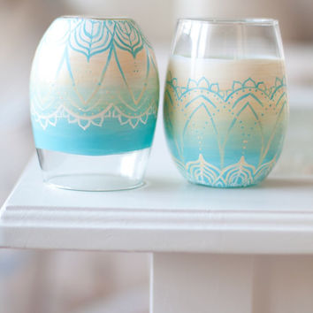 Surf and Sand Mandala Wine Glass Set: Bohemian Beach Stemless Drinking Glasses, Candle Holders