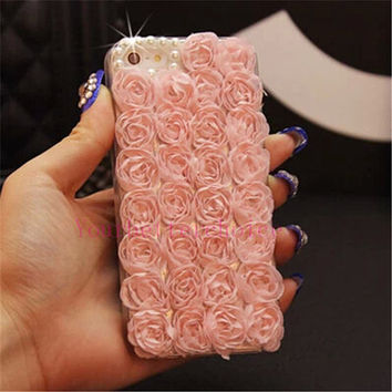 "Pink lace flower pearl crystal bling phone case for iphone 4\4s iphone 5\5s iphone 6 4.7"" iphone 6 plus"