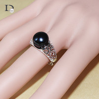 IDo black pearl ring  gold plated jewelry for women 9-10mm freshwater pearl ring  adjustable ring