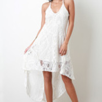 Lace High Low Dress Color: Ivory, Size: S