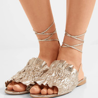 Mercedes Castillo - Alesandra metallic cracked-leather sandals