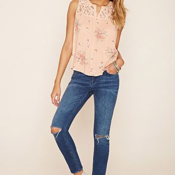 Lace-Yoke Floral Print Top