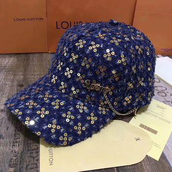 """Supreme"" Unisex Letter Pendant Sequin Flat Cap Couple Baseball Cap All-match Sun Hat"