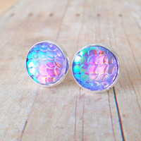 M E R M A I D  - Iridescent Pink and Purple, Fish Scale, Silver Plated Stud Earrings, 12mm