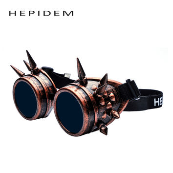 Rivet Welding Goggles Gothic Steampunk Sun Glasses Hipster Cosplay Antique Spikes Vintage Victorian Nails Hippie Sunglasses mont