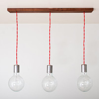 Triple Shot Straight - 3 Globe Hanging Pendants w/ Modern Walnut base by Dylan Design Company