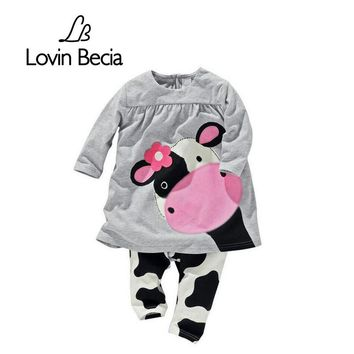 LOVIN BECIA 2pcs/ set New dress pants spring summer Cows Kids clothes sets for Baby girls children clothing toddler suit costume