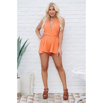 Cut Ties Romper (Orange)