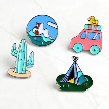 Trendy Cartoon Cactus Mountaineering Bus Duckling Tent Brooch Pins Button Denim Jacket Shirt Lapel Pin Badge Jewelry Gift For Kids AT_94_13