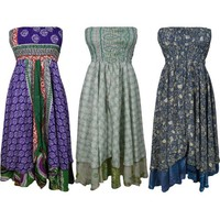 Mogul Womens Skirt Dress Vintage Printed Silk Sari 2 In 1 Recycled Two Layer Sundresses Wholesale Lot Of 3 - Walmart.com
