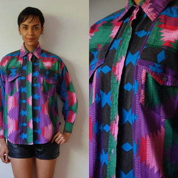 Vtg Southwest Tribal Print Pink Purple Green Blue LS Button Down Shirt
