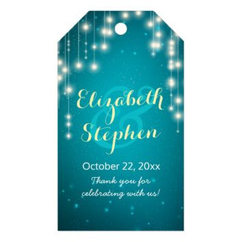 String Lights Turquoise Glitter Wedding Thank You Gift Tags