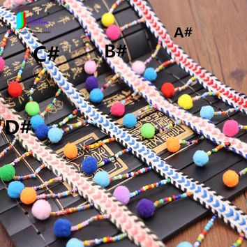 Mysterious Style Colorful Small Ball Lace,Bag,Home Table Cloth Craft,Sofa,Curtain Decoraion Accessory Tassel Bead Lace S0383L