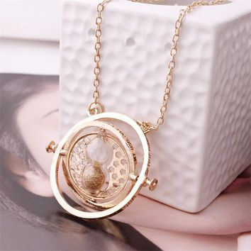 Hot Sale  360 degree Time Converter Rotation Turner Necklace Hermione Granger Rotating Spins Gold Hourglass Movie jewelry