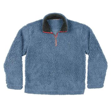 Appalachian Pile Pullover 1/4 Zip in Washed Blue by Southern Marsh