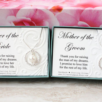 Gift for Mother of the Groom and Mother of the Bride Set of 2, Sterling silver Swarovski pearl necklace gift from bride and groom couple