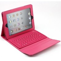 YIKING Wireless Bluetooth Keyboard-Black Bluetooth Keyboard Apple Ipad 1st/ iPad 2/ipad 3 3G Tablet/WiFi Model 16GB, 32GB, 64GB +Portable PU Leather Carrying Case Cover Protector(Magenta)