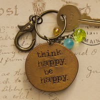 Think  Happy  Junk  Market  Token  Keychain  From  Natural  Life