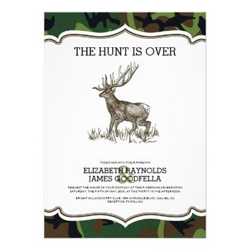 Camo The Hunt is Over Wedding Invitations