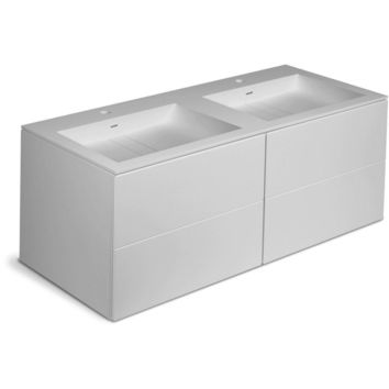 Orren 47 in. Wall Double Sink Bathroom Vanity 4 Drawers, Solid Surface Washbasin