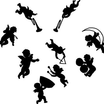 Angel band cherubs instruments SILHOUETTE Printable Digital art graphics image , printable images, silhouette art, cards tags totes t-shirts