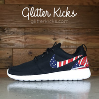 Nike Roshe One Customized by Glitter Kicks - BLACK / WHITE / AMERICAN FLAG PRINT