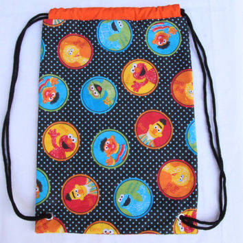 Child's Drawstring Backpack, Sesame Street, Fully Lined Drawstring Backpack, Orange Lining, Black Drawstring, Big Bird, Elmo, Cookie Monster