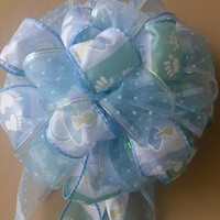 Blue Baby Shower Bow Birth Announcement Hospital Door Gift Decoration