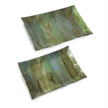 2 Botanical Serving Platters - Grass Pattern
