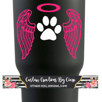 Pet Loss Decal - Pet Memory - Dog Decal - Angel Dog Decal - Car Decal - Vinyl Decal - Memory - Dog Loss - Paw Decal - Wings