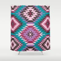 Navajo Dreams - Turquoise Shower Curtain by Bohemian Gypsy Jane