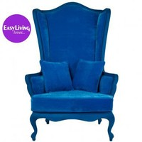 Wonderland Blue Velvet Armchair|Chairs  Armchairs|Seating|French Bedroom Company