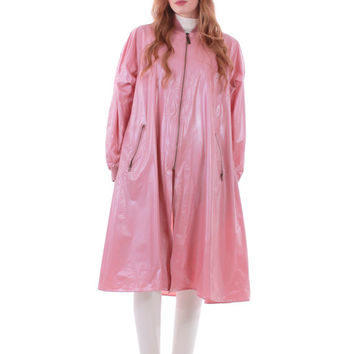 80s Vintage Dusky Pink PVC Raincoat A-Line Vinyl Swing Coat Mod Retro Winter Clothing Women Plus Size Clothing XL 2X