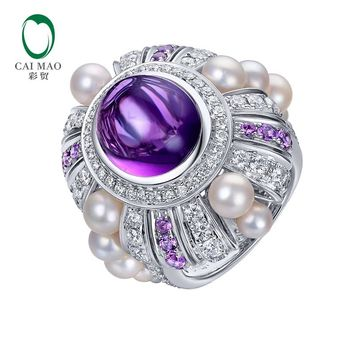 7.25ct Natural Amthyst 1.82ct Natural Diamonds and 0.42ctw Amethyst Pearl 14K White Gold Engagement Ring