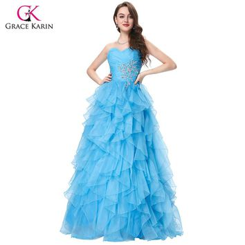 Red Blue Quinceanera Dress  Grace Karin Strapless Formal  Long Ball Gown Organza Prom Dresses for Sweet 16 Years