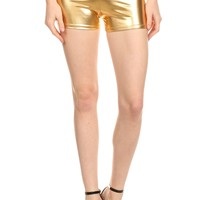 Shiny Metallic Wet Loook Mini Shorts
