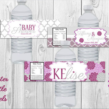 Elegant Purple & Gray Floral Water Bottle Labels