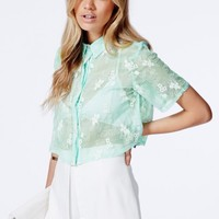 Missguided - Hazellyn Embroidered Cropped Shirt