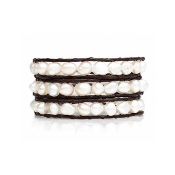 Fresh Water Pearl Cream Wrap Bracelet