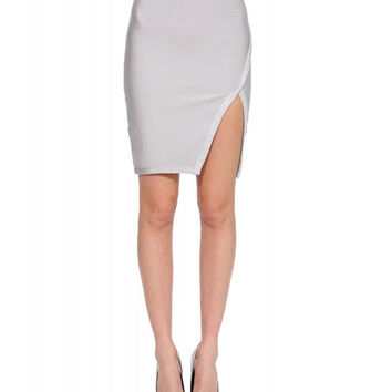 High Waist Hip Wrapped  A-Line Skirt With Side Slit